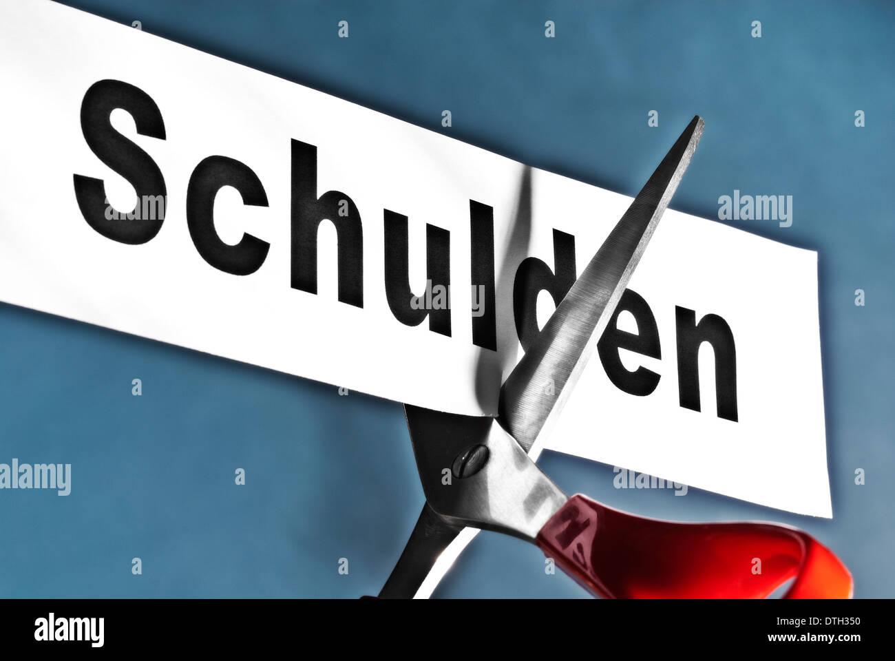 """Forbici battono Carta con la parola """"chulden' che simboleggia un taglio di capelli. Immagini Stock"""