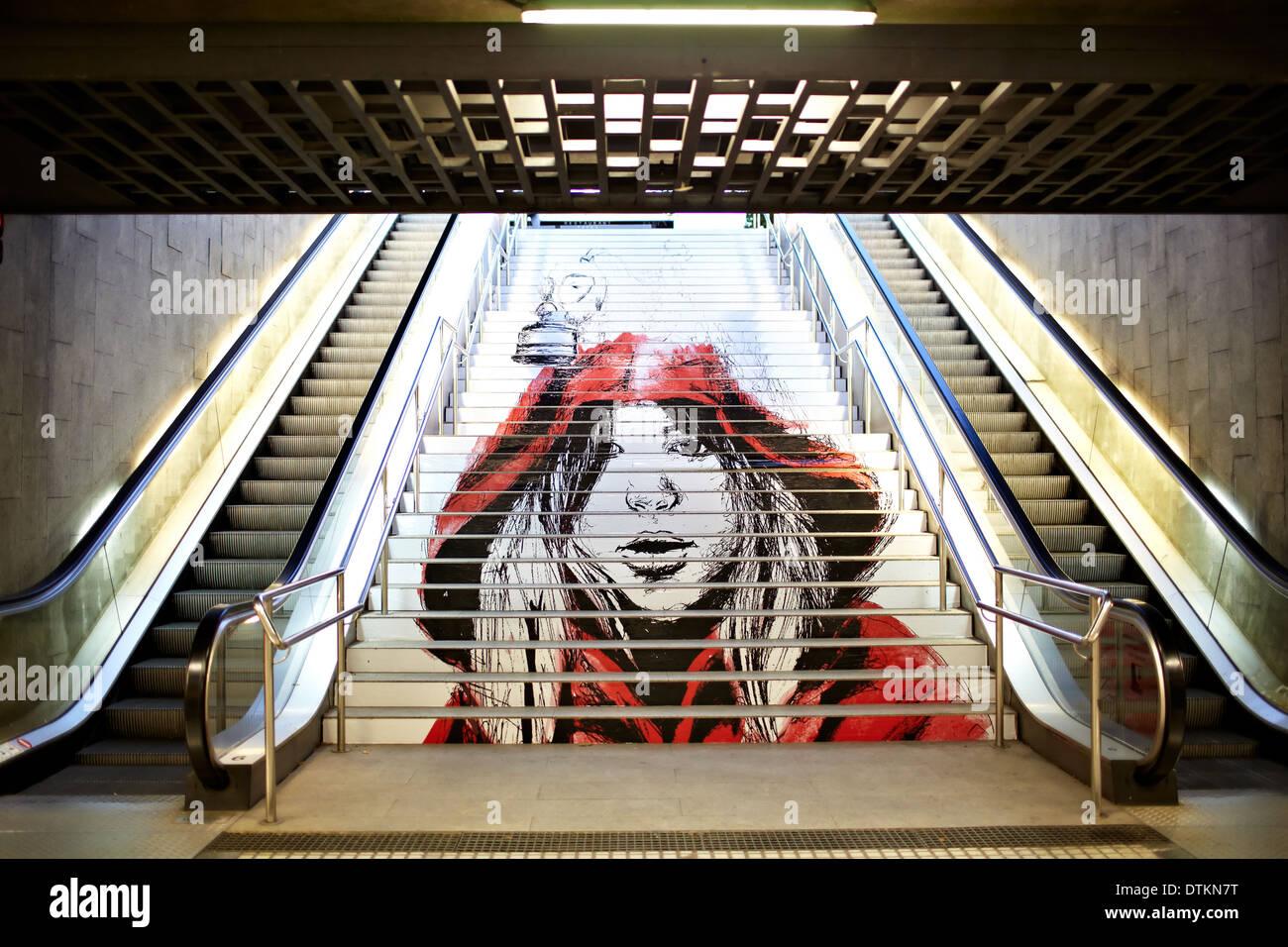 Graffiti in metropolitana. Immagini Stock