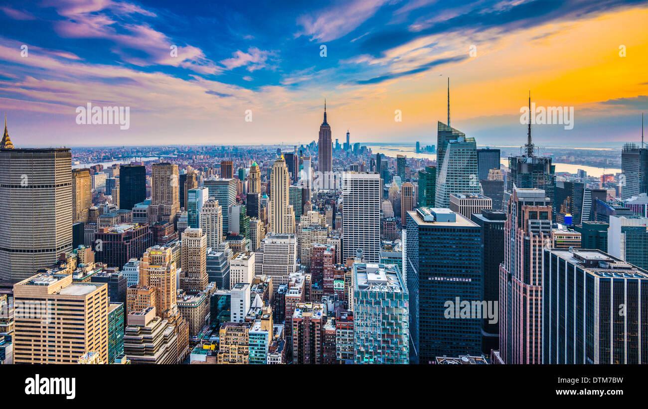 New York City paesaggio urbano dell'antenna. Immagini Stock