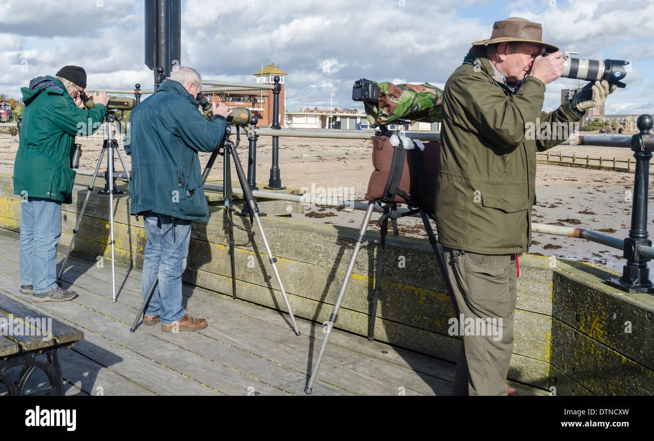 Gli amanti del birdwatching guardando fuori per uccelli con cavalletti e lunghi teleobiettivi. Twitchers nel West Sussex, in Inghilterra, Regno Unito. Immagini Stock