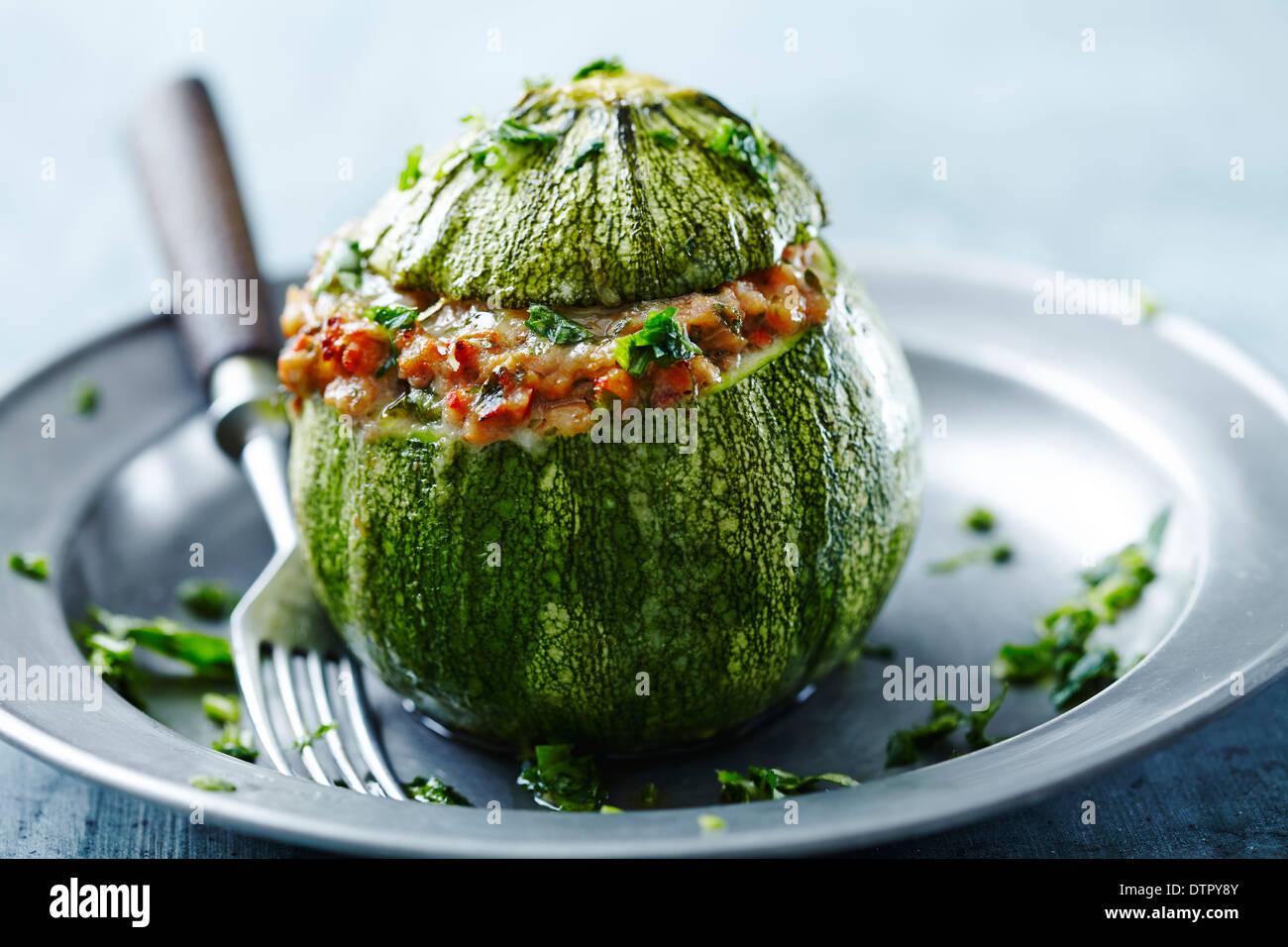 Round le zucchine ripiene Immagini Stock
