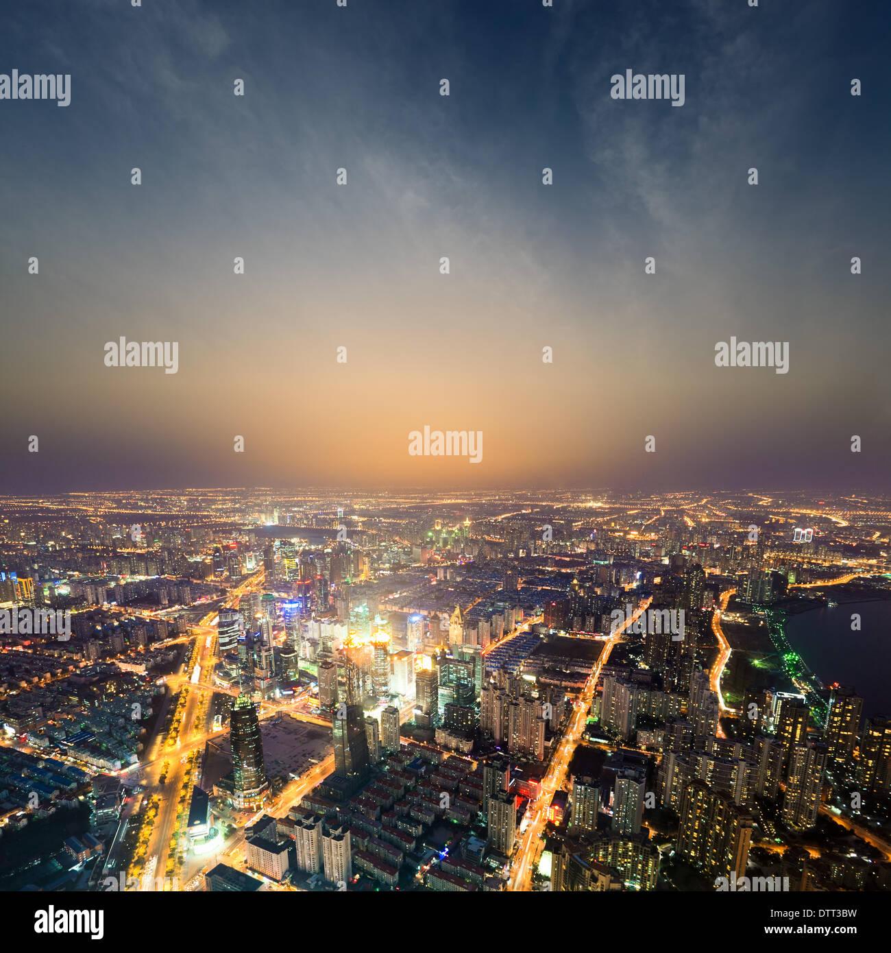 Shanghai metropoli di notte Immagini Stock