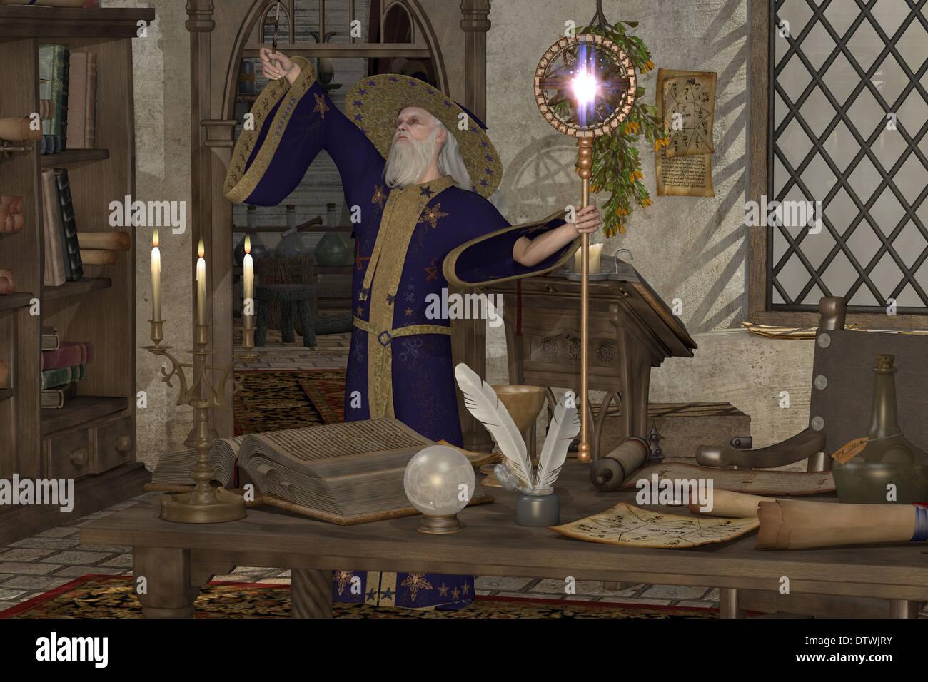 Una procedura guidata nella sua biblioteca lancia un incantesimo con la sua bacchetta magica e personale. Foto Stock