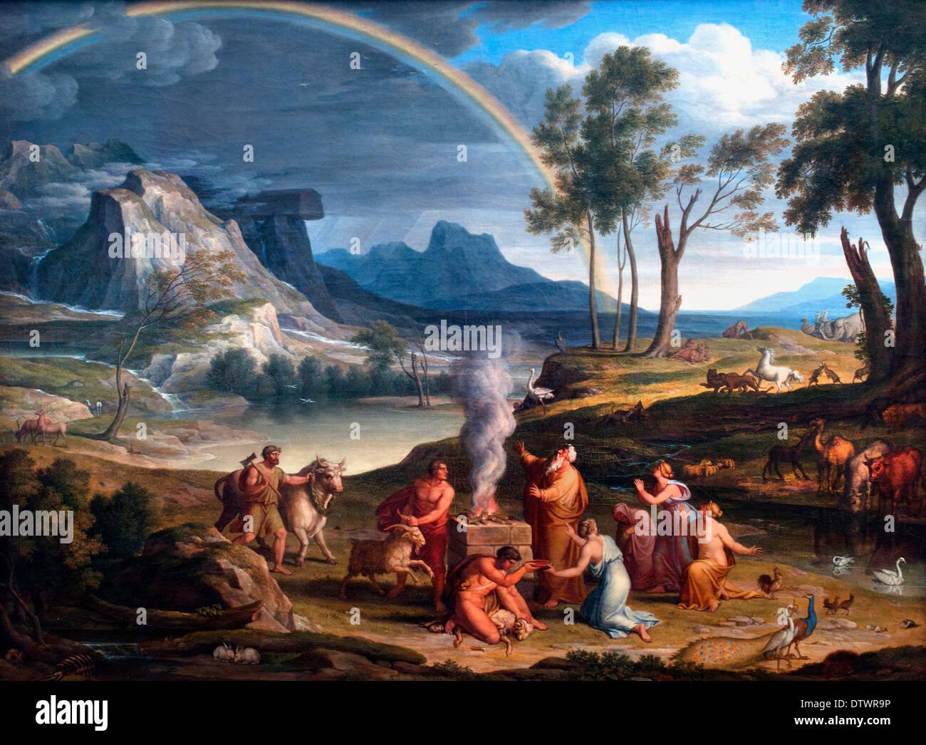 Paesaggio con Noè offre un sacrificio di ringraziamento Koch, Joseph Anton,1768-1839 il tedesco in Germania Immagini Stock