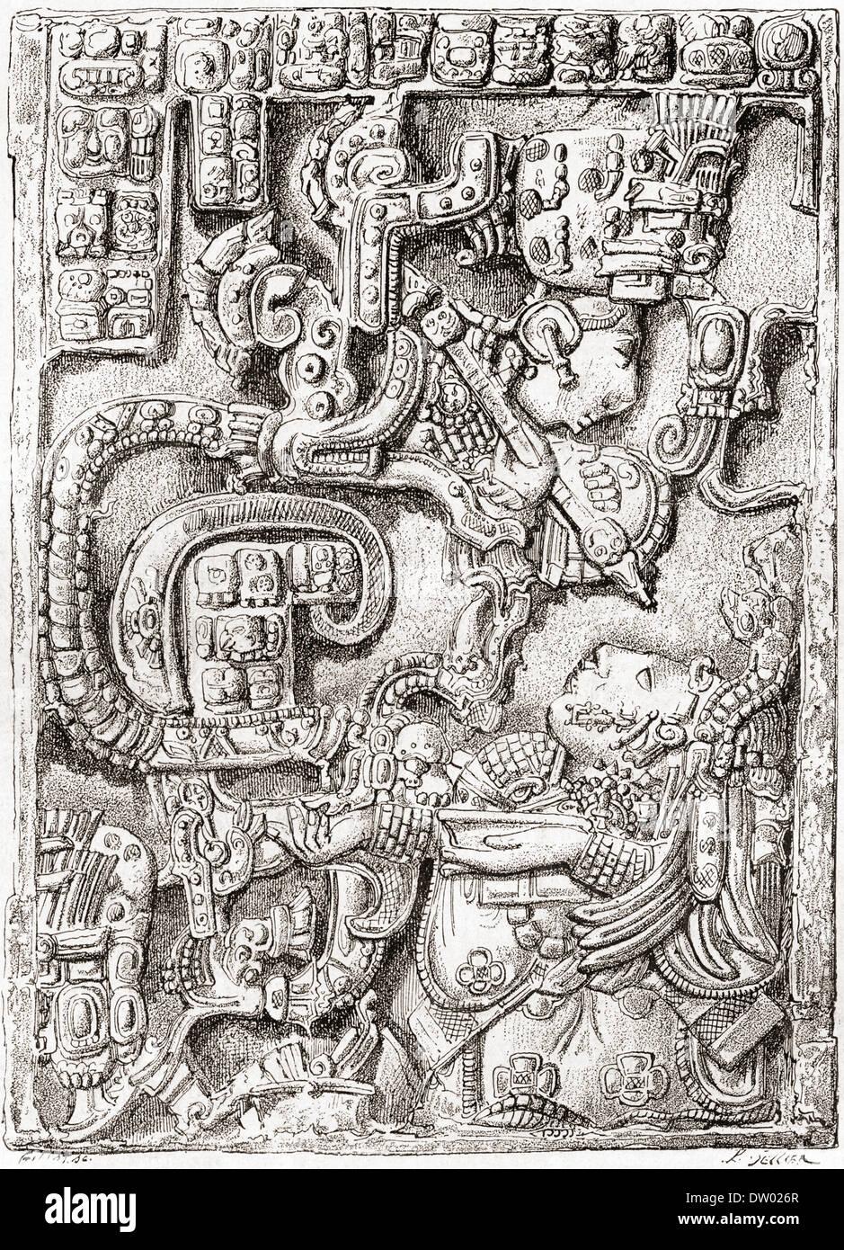 Architrave 25 di Yaxchilan struttura 23 dall antica città maya di Yaxchilan, Chiapas, Messico. Immagini Stock