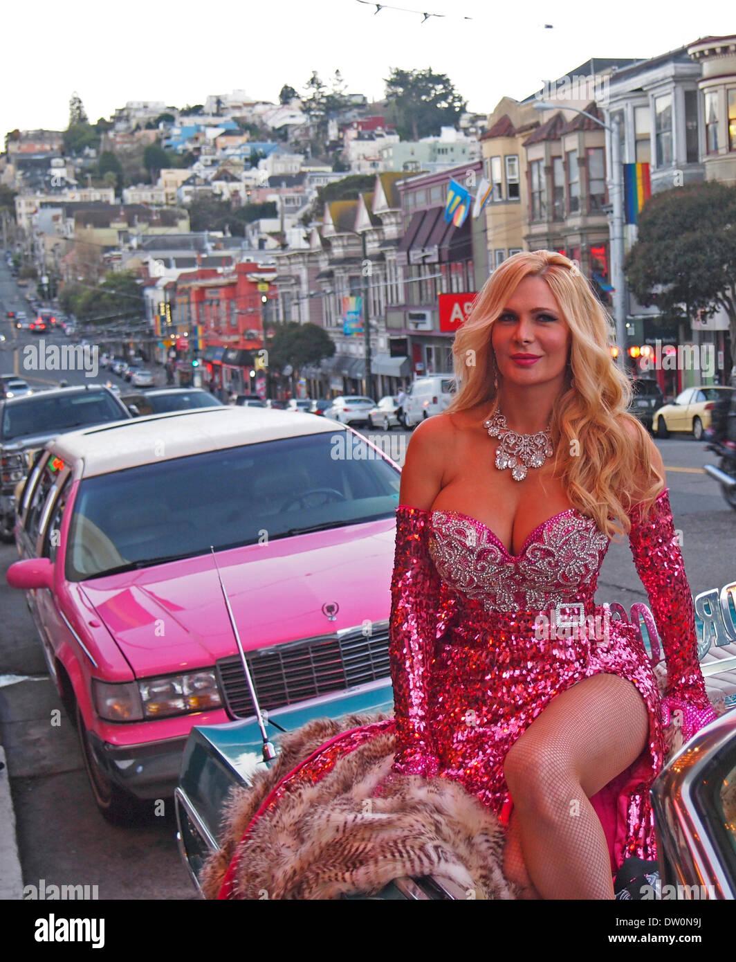San Francisco, Stati Uniti d'America. 25 feb 2014. Celebrità performer Cassandra Cass al 2014 Nitey Awards a San Francisco nel quartiere Castro Credit: Robert Clay/Alamy Live News Immagini Stock