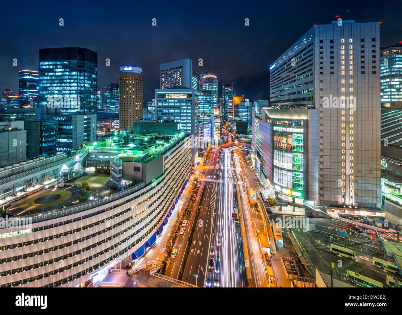 Osaka, Giappone nel quartiere Umeda Immagini Stock