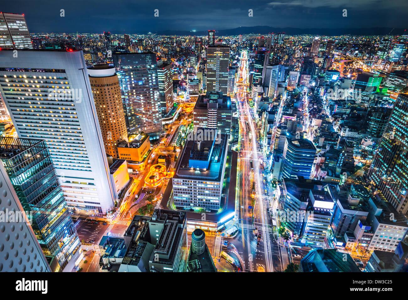 Osaka in Giappone cityscape antenna Immagini Stock