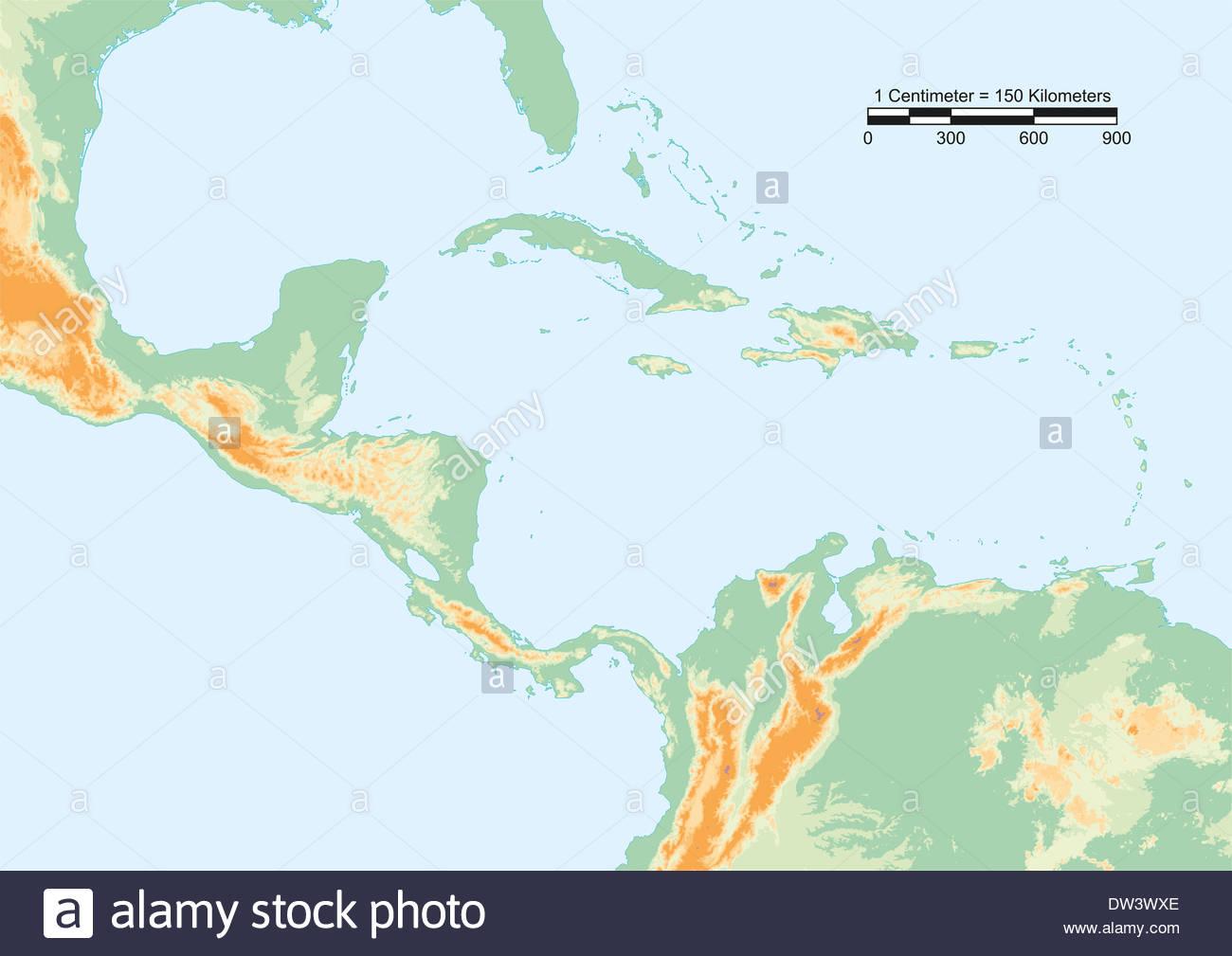 Cartina Fisica Dell America Centrale.Cartina Fisica Dell America Centrale Con Scala Gli Elementi