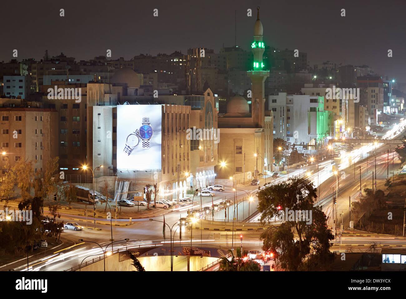 Amman luci della città di le strade nella notte Immagini Stock
