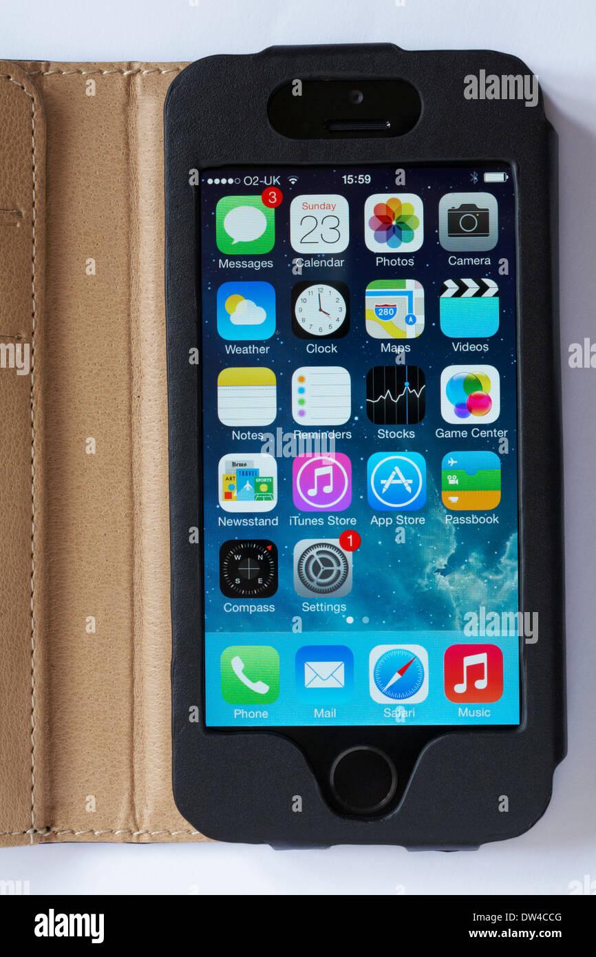 Icone Su Iphone 5s Nella Schermata Iniziale Impostata Su Sfondo