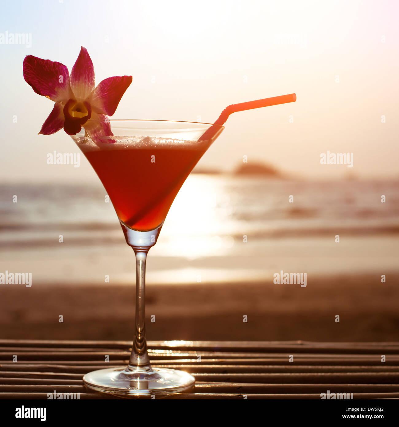 Splendido cocktail sulla spiaggia Immagini Stock