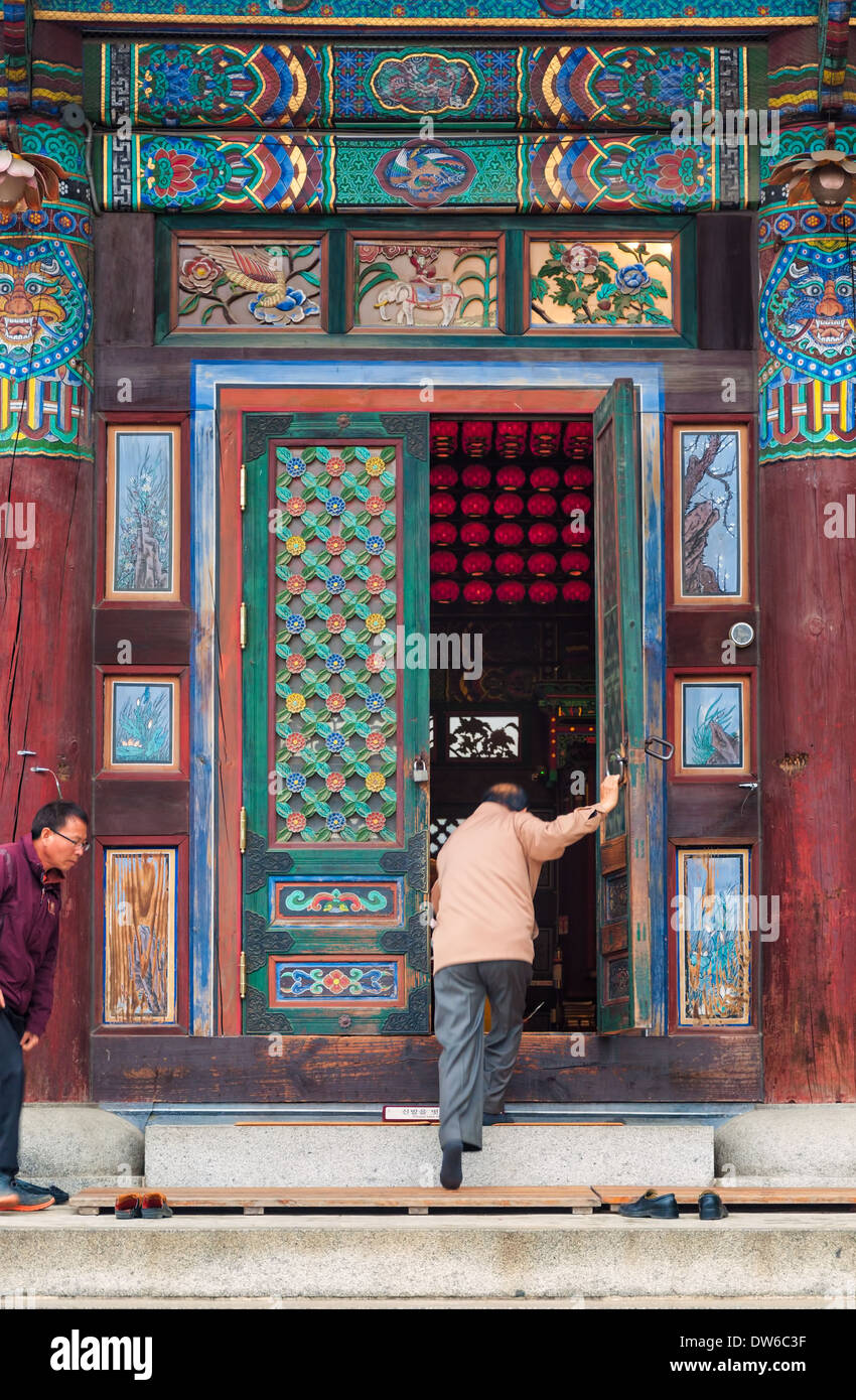 Tempio Bongeunsa a Seul, in Corea del Sud. Immagini Stock