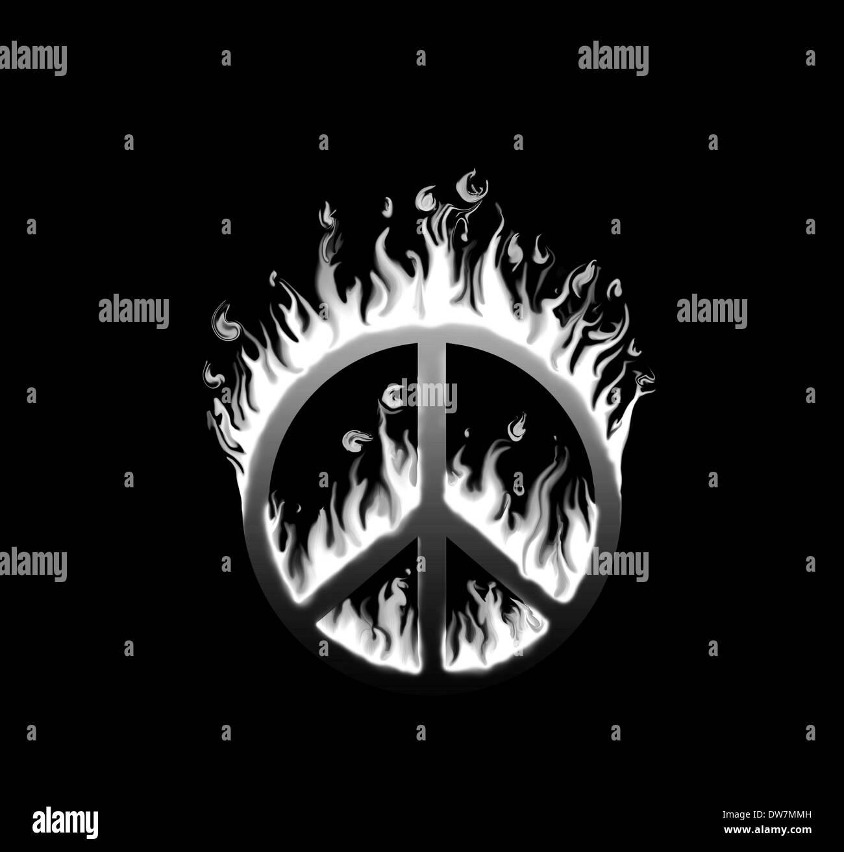 Pace Bianco E Nero simbolo di pace travolto in fiamme - concetto di specie in