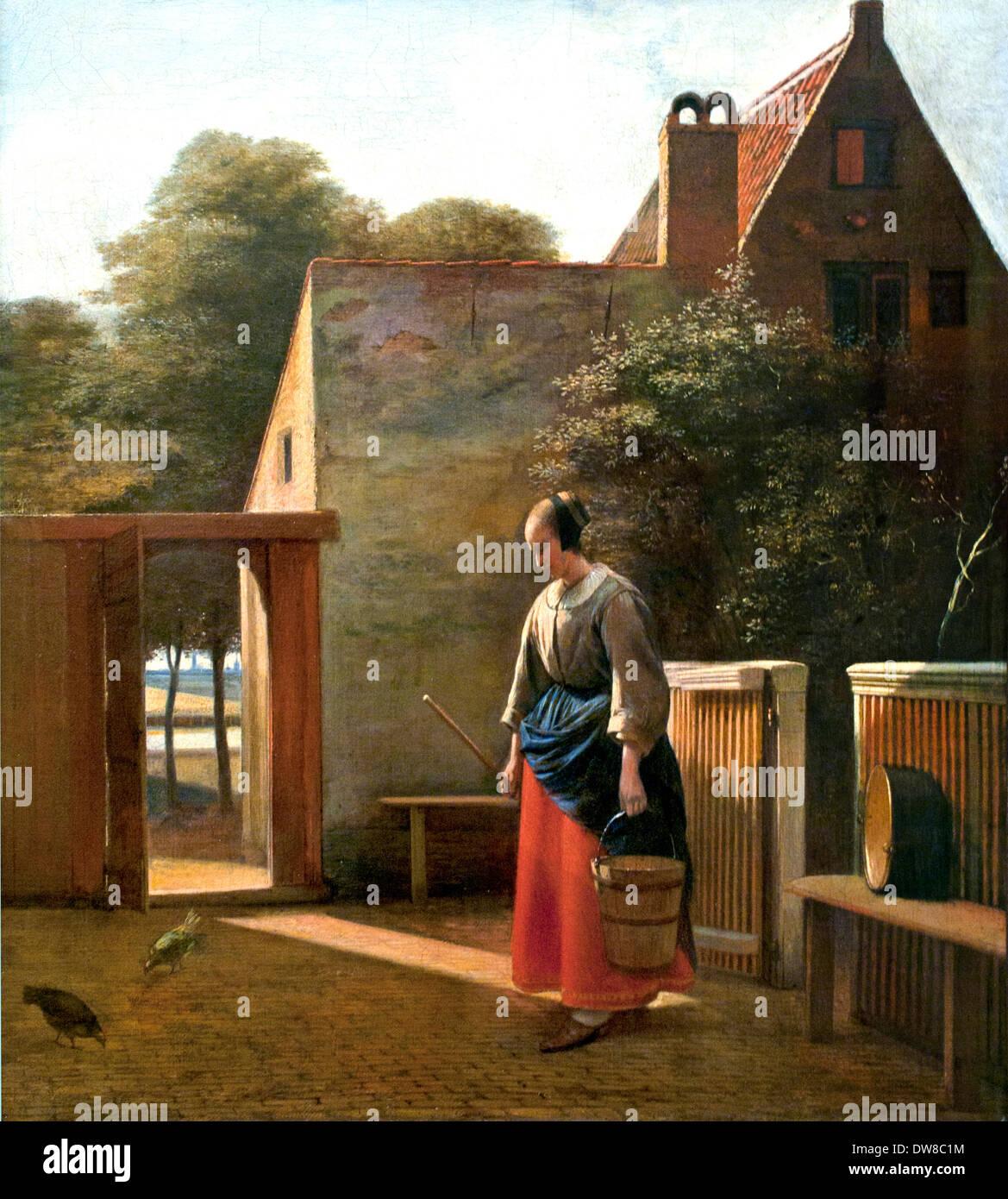 Una cameriera con la benna in un cortile 1660 Pieter De Hooch 1629 - 1684 Paesi Bassi Paesi Bassi Immagini Stock