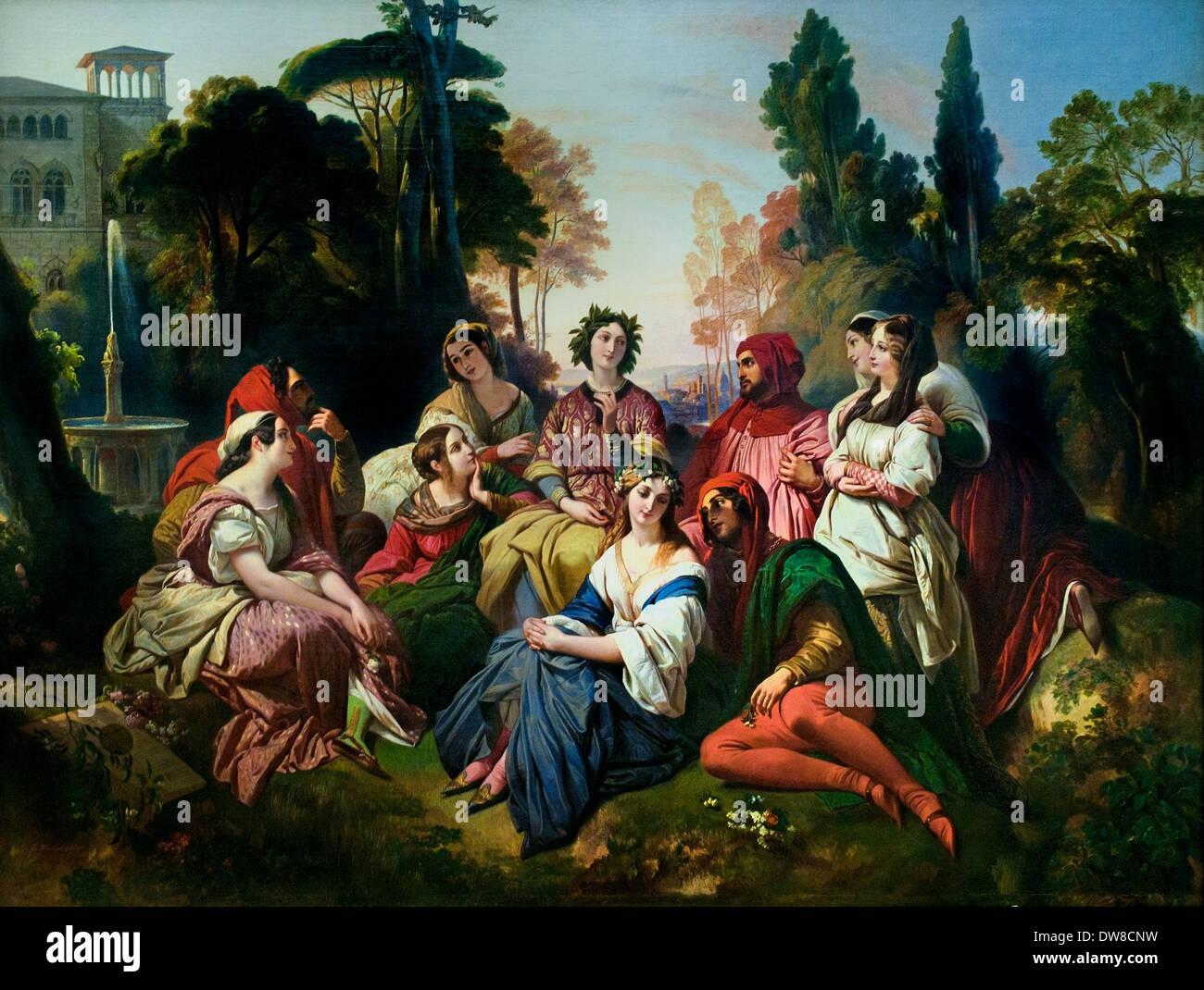 Il Decameron 1837 Franz Xaver Winterhalter1805 - 1873 il tedesco in Germania Immagini Stock