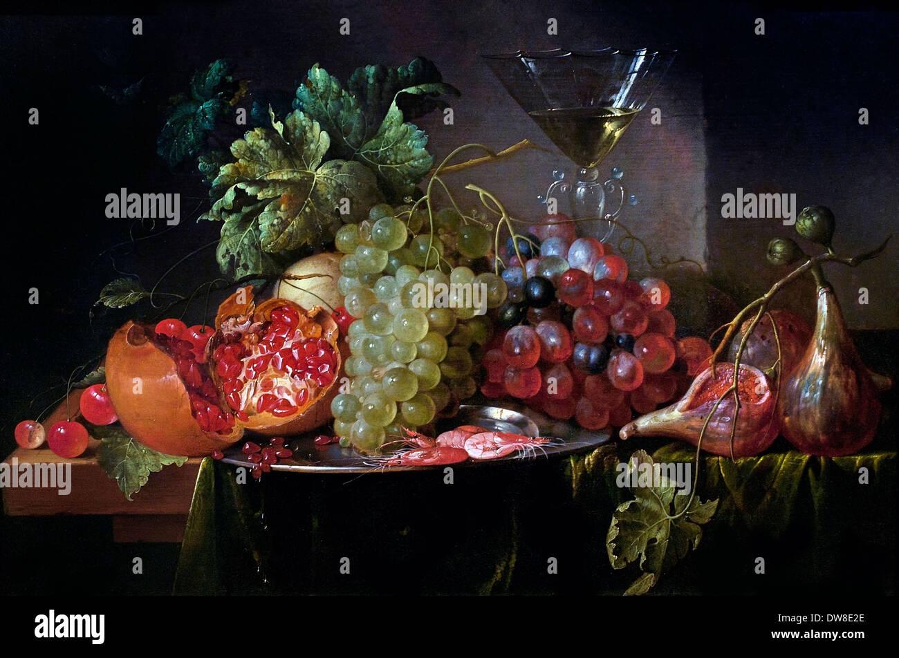 Frutto ancora in vita con riempito wineglass 1650 Jan Davidsz de Heem 1606 - 1684 Paesi Bassi Paesi Bassi Foto Stock