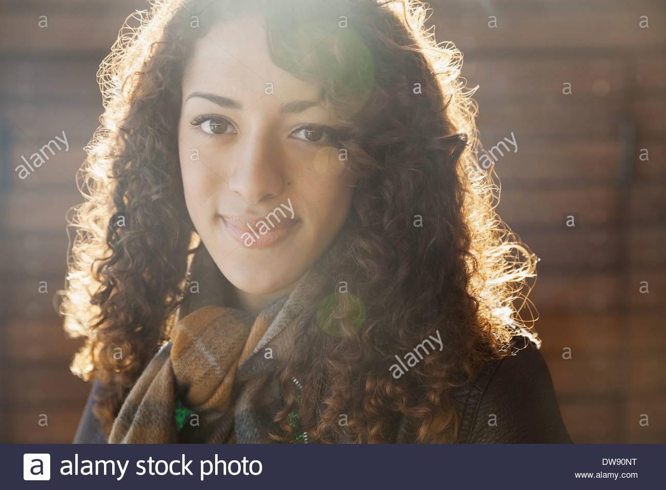 Close-up ritratto di donna bella all'aperto Immagini Stock