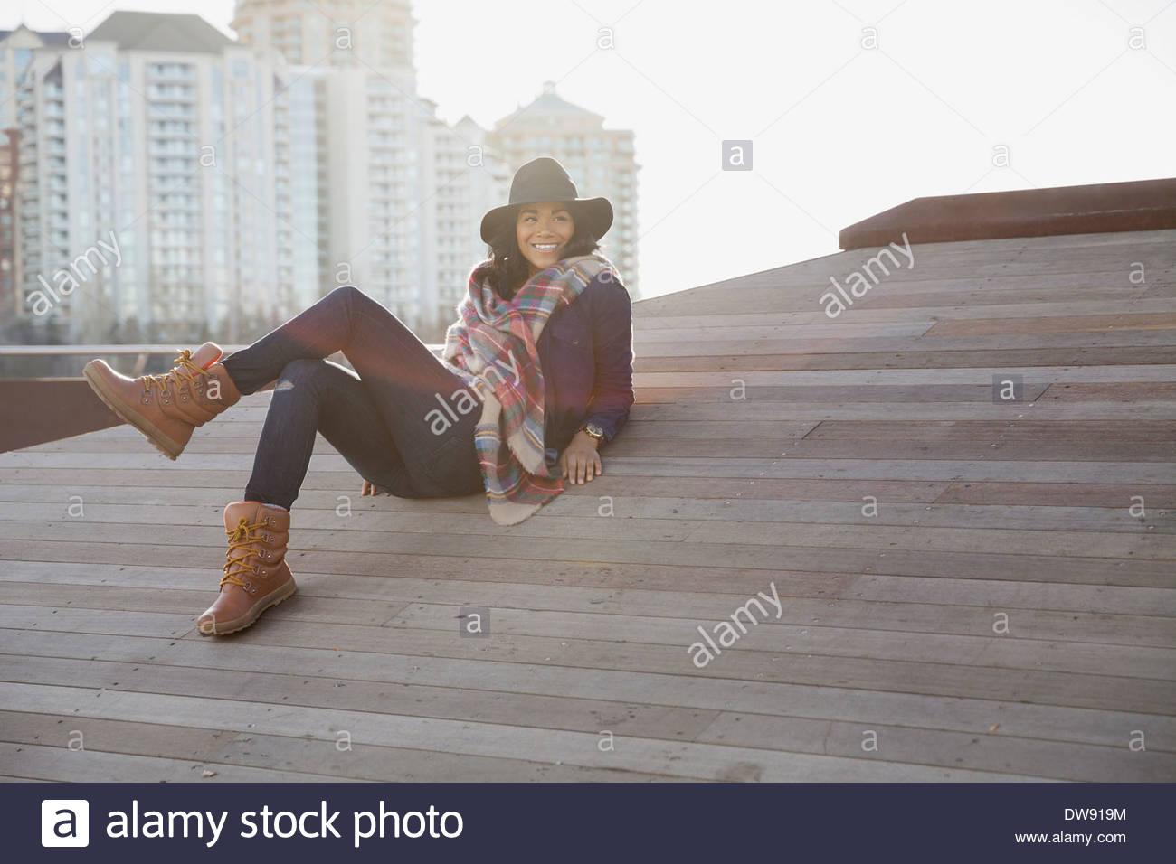 Moda donna di relax all'aperto Immagini Stock