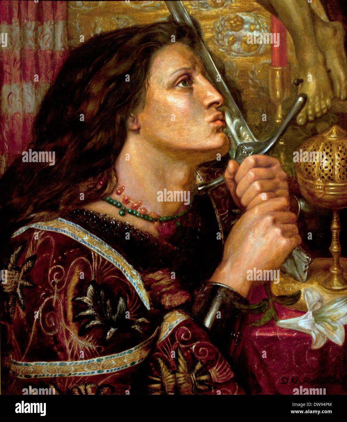 Giovanna d Arco bacia la spada della liberazione della Francia francese) 1863 Dante Gabriel Rossetti (1828-1882) Italia Italiano Immagini Stock
