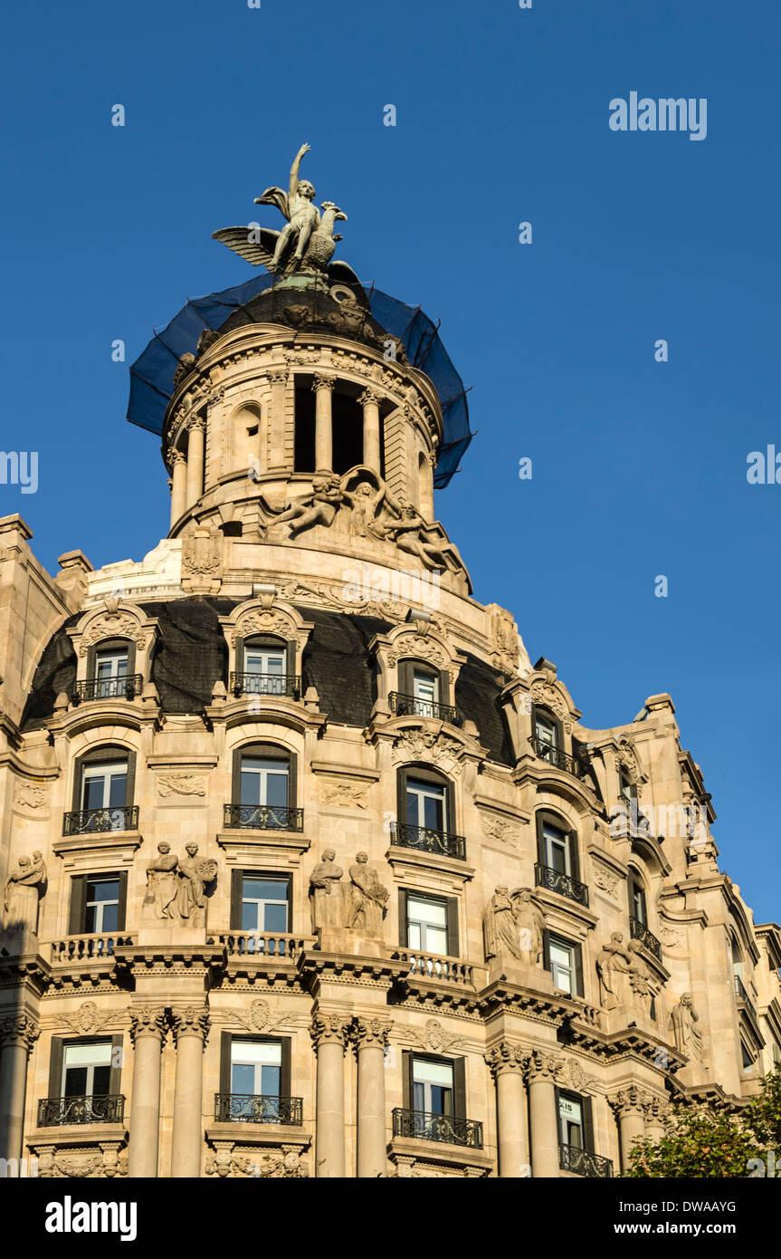 Edificio Art Deco, Passeig de Gracia, Barcellona, Spagna Immagini Stock