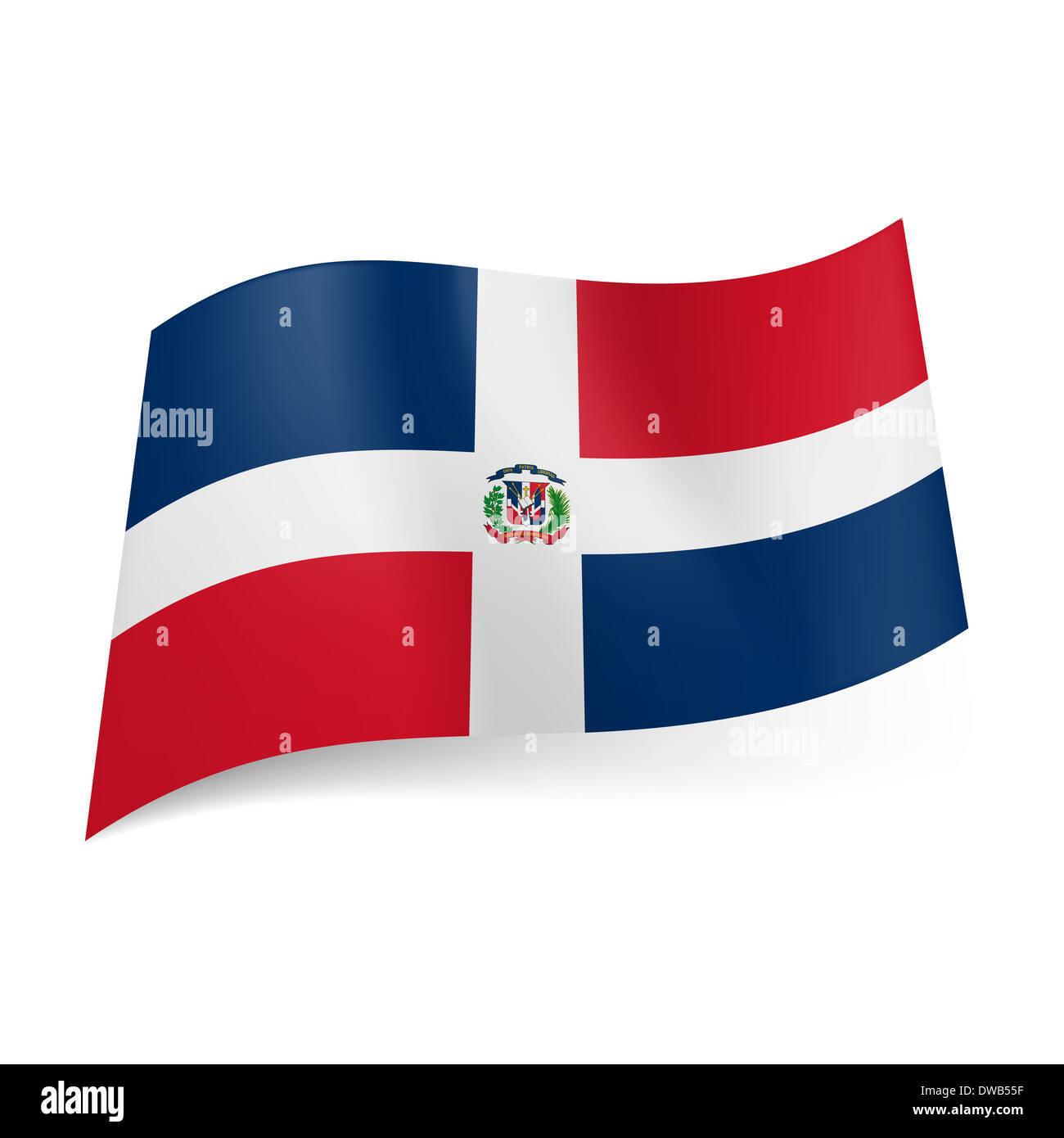 Bandiera Nazionale Della Repubblica Dominicana Croce Bianca Con