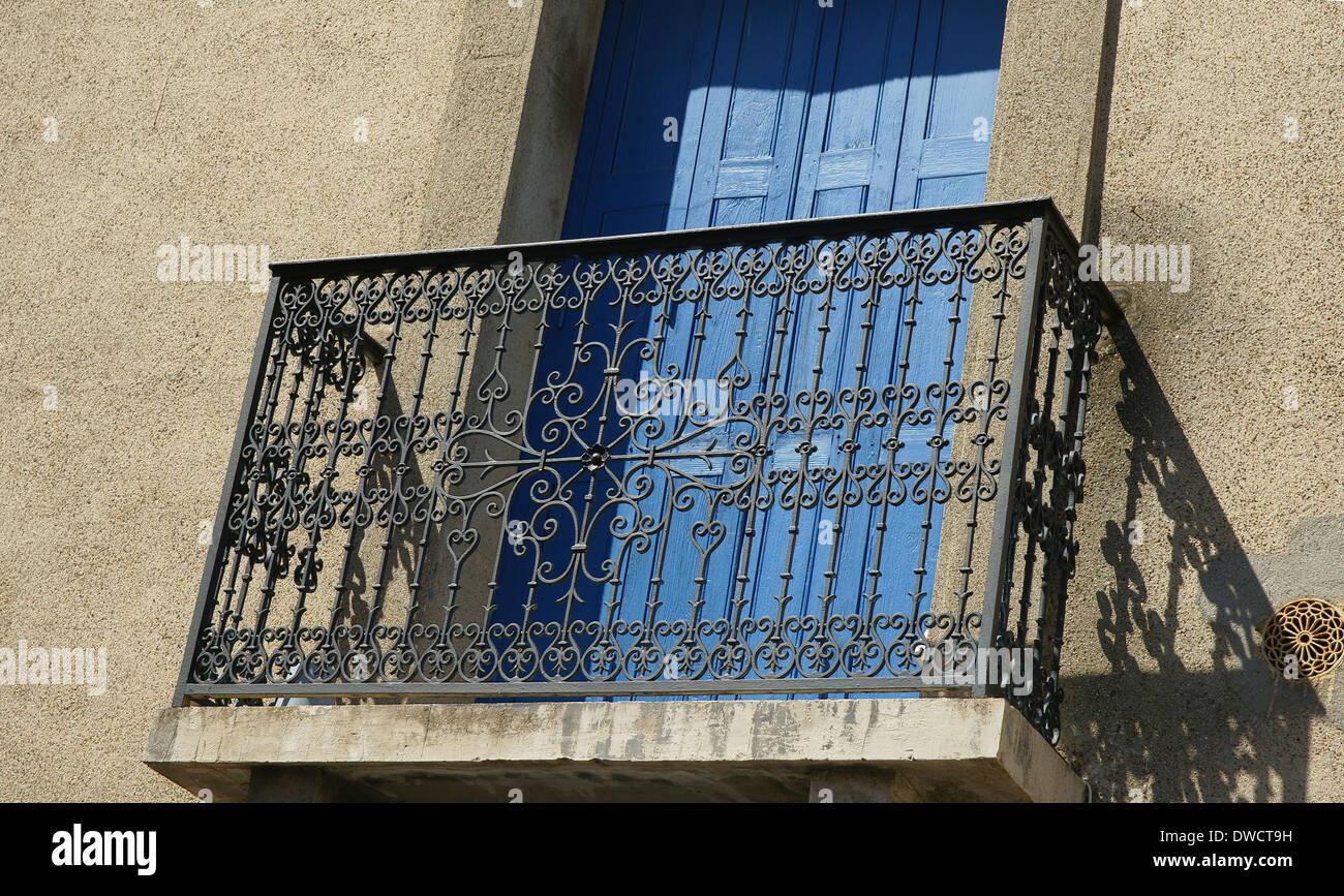 Balcone porta BLU FRANCIA Immagini Stock