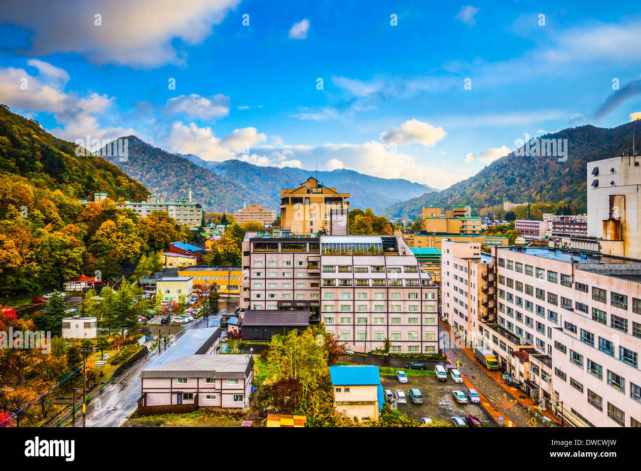 Jozankei, Giappone Hot Spring Resort città durante la stagione autunnale. Immagini Stock