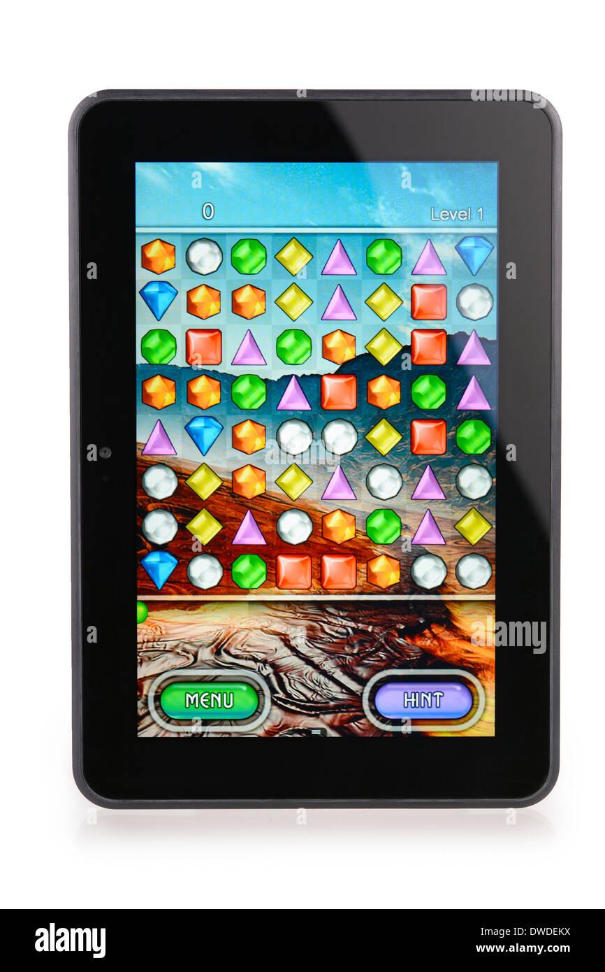 Kindle fuoco HD 8.9 con Bejeweled Game Immagini Stock