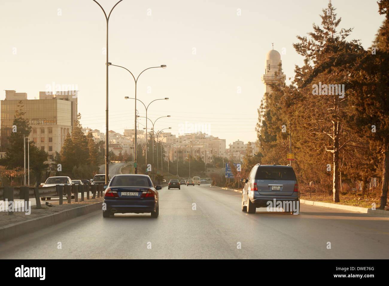 Le strade di mattina presto in Amman, Giordania Immagini Stock
