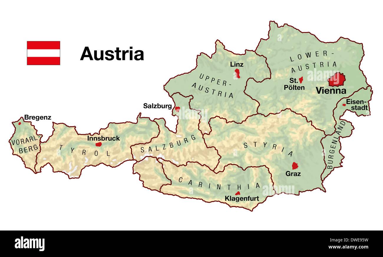 Cartina Geografica Dell Austria.Mappa Topografica Dell Austria In Europa Con Le Citta Stati