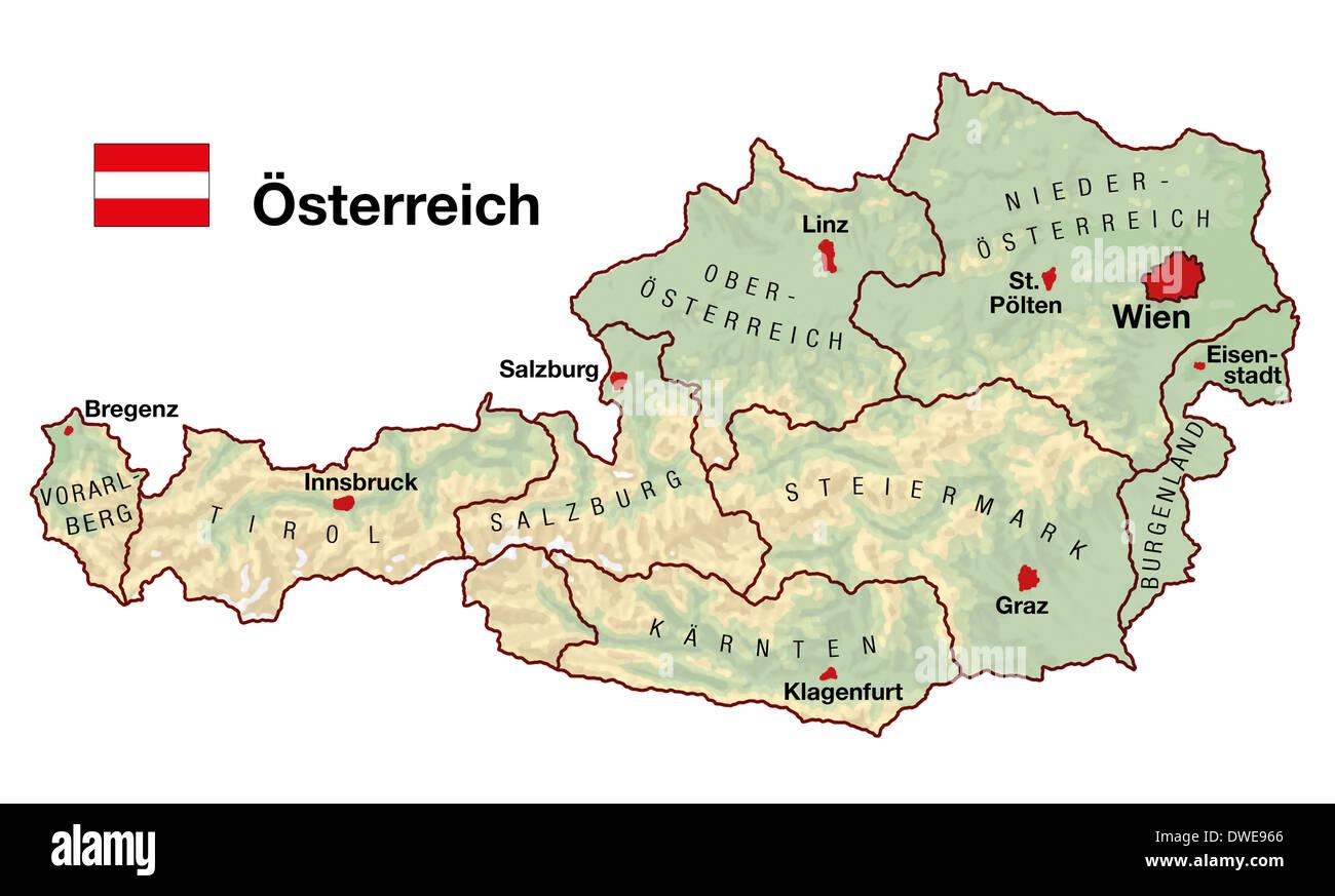 Cartina Tematica Austria.Mappa Topografica Dell Austria In Europa Con Le Citta Stati