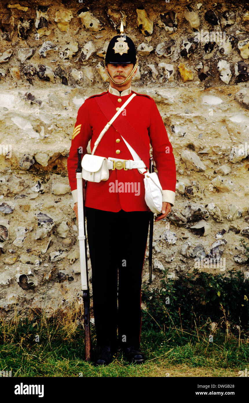 57Th Middlesex Regiment, 1880, sergente, soldato britannico, soldati, rievocazione storica del XIX secolo di storia, England Regno Unito Immagini Stock