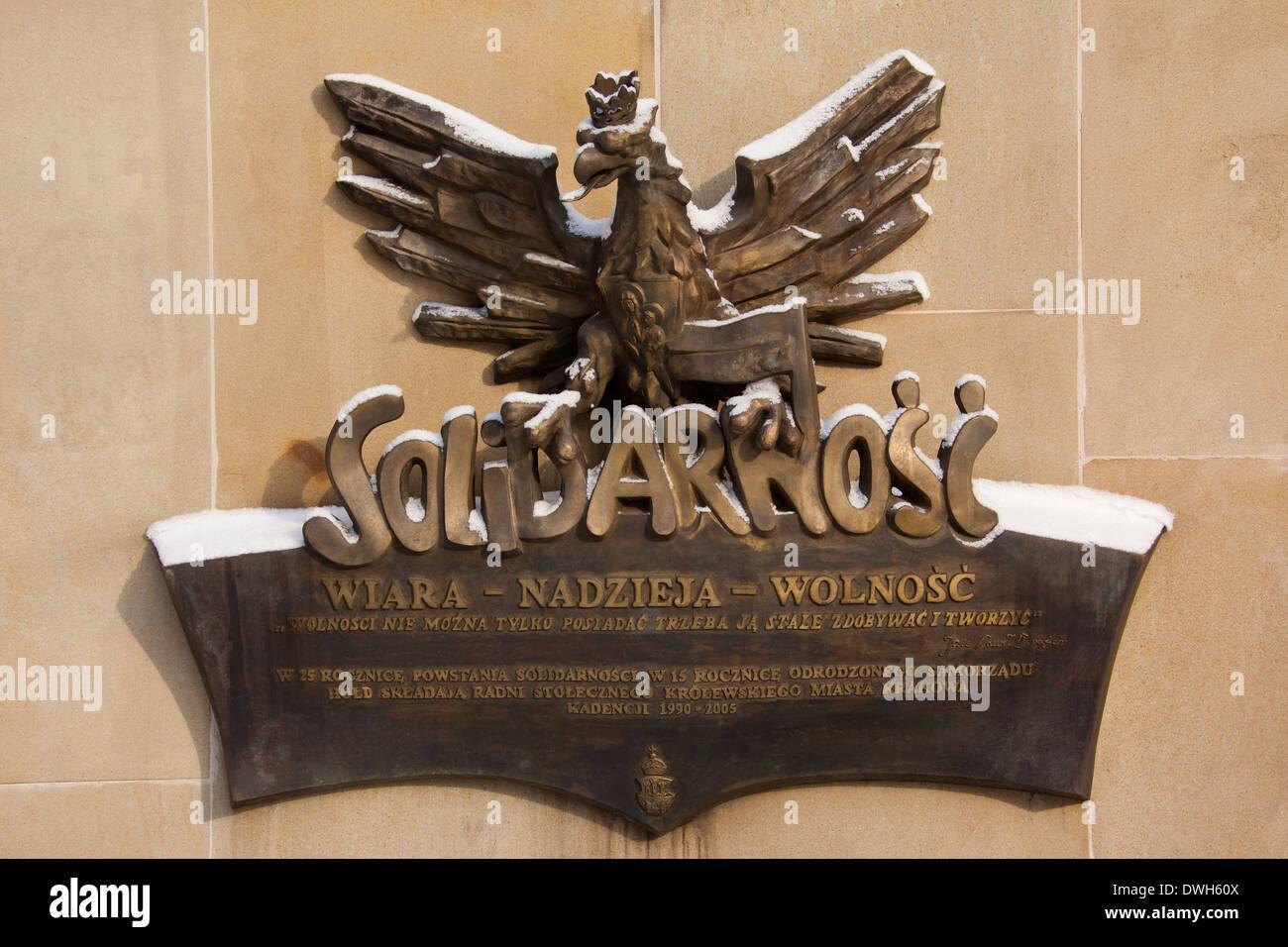 Memoriale per i lavoratori della solidarietà movimento sindacale (Solidarnosc) - Cracovia - Polonia Immagini Stock