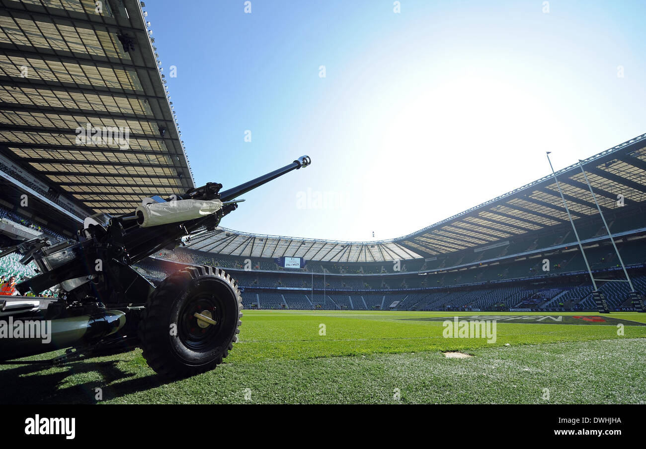 Gli onorevoli artiglieria COMPA INGHILTERRA RU V GALLES RU TWICKENHAM Londra Inghilterra 09 Marzo 2014 Immagini Stock