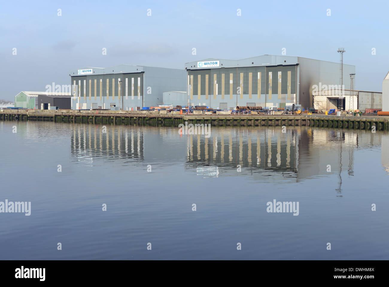 Wilton Gruppo Offshore officine di fabbricazione. Porto di Clarence, Middlesbrough, Regno Unito Immagini Stock