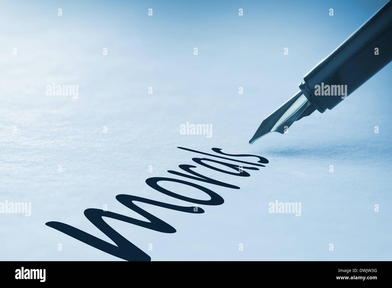 Penna stilografica morale di scrittura Immagini Stock