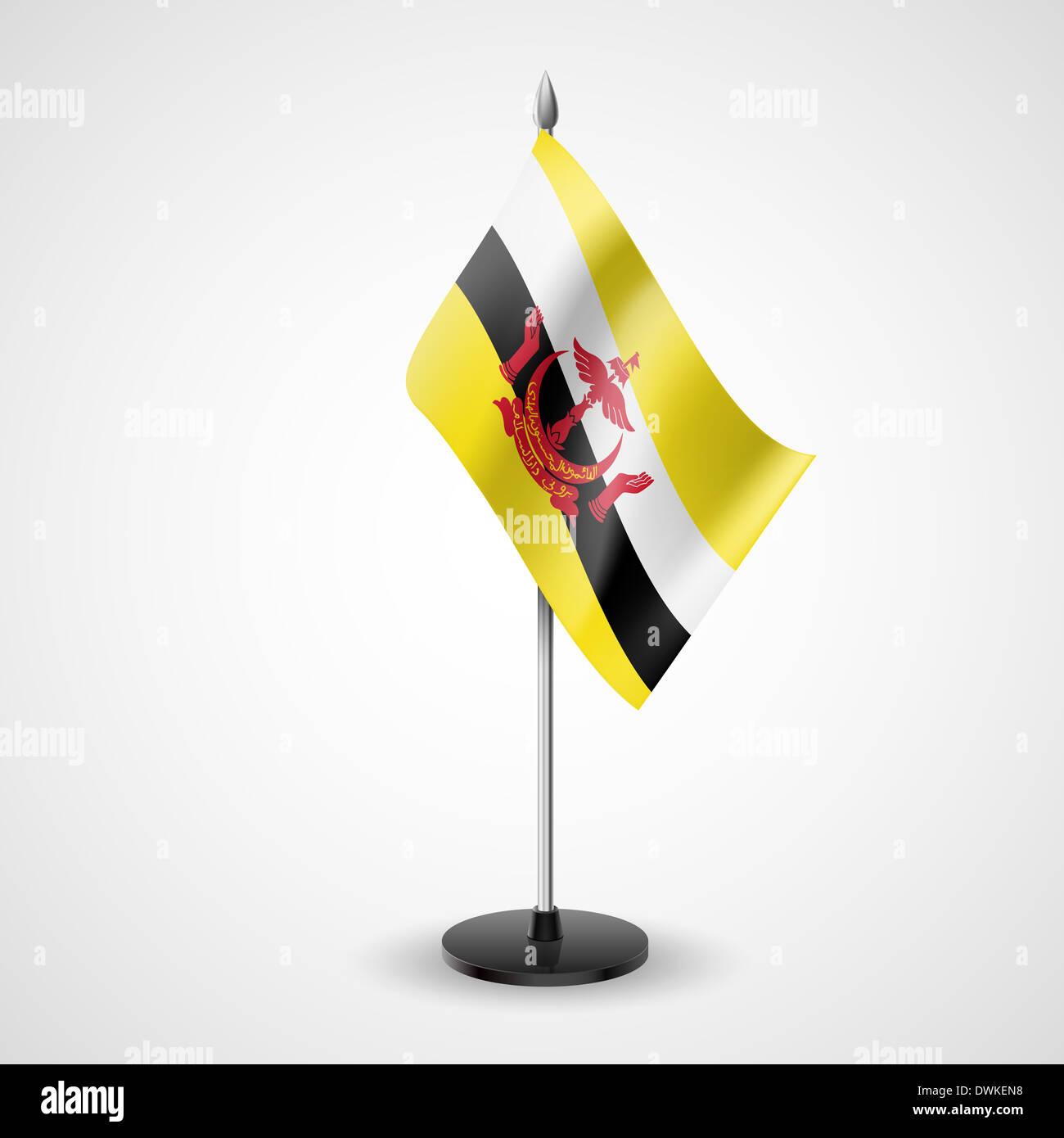 Tabella di stato bandiera del Brunei. Simbolo nazionale Immagini Stock