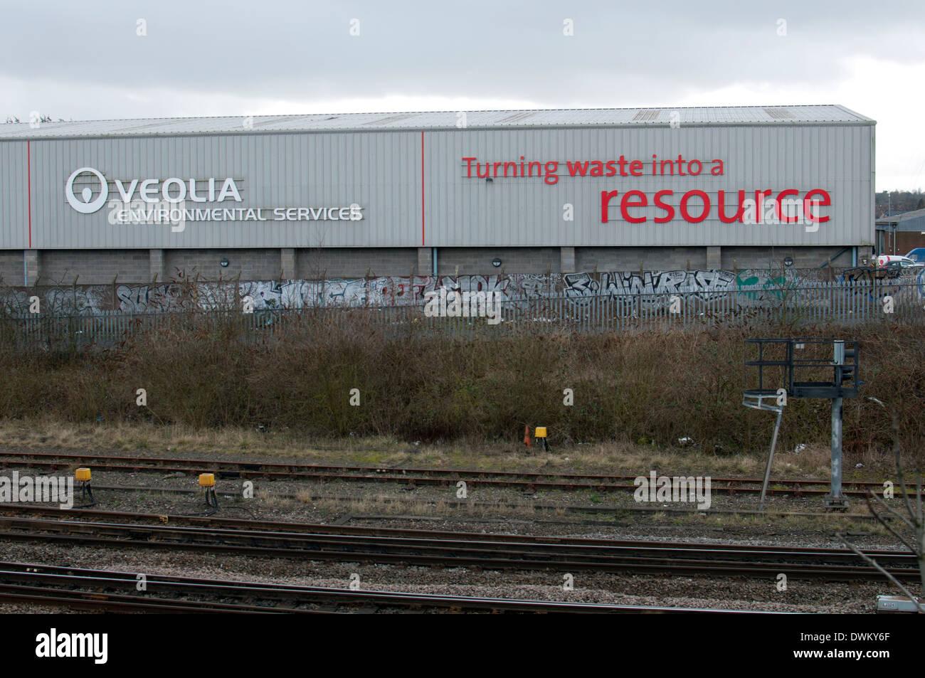 Veolia gestione dei rifiuti vegetali, Tyseley, Birmingham, Regno Unito Immagini Stock
