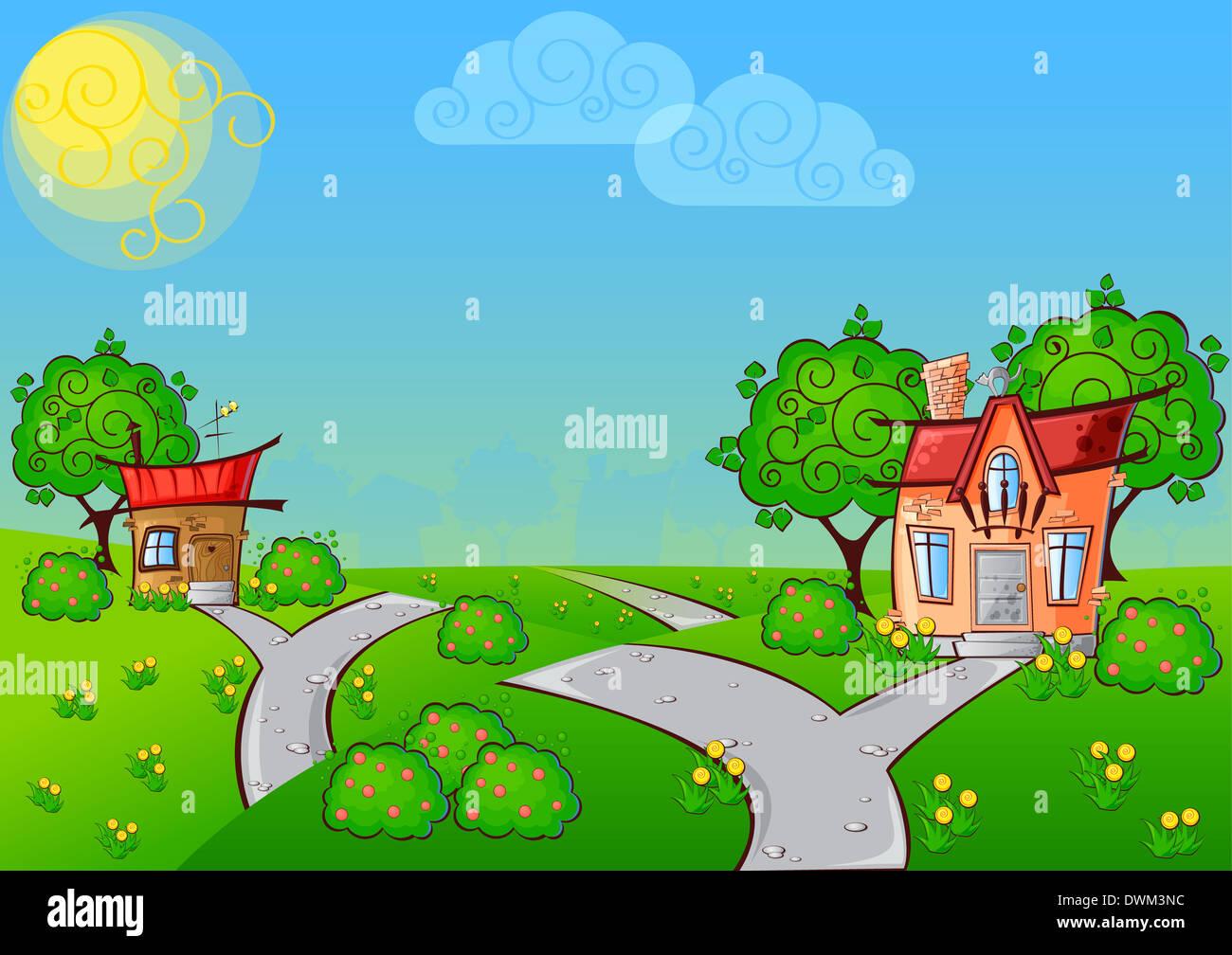 Sullo sfondo il percorso di un cartone animato in casa con il gatto