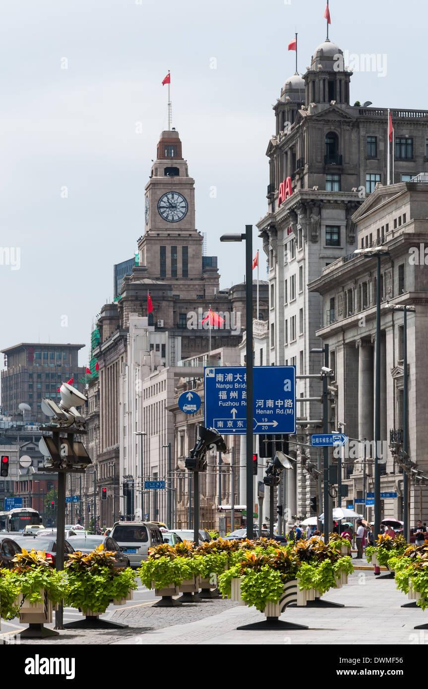 Architettura coloniale lungo il Bund a Shanghai in Cina. Immagini Stock