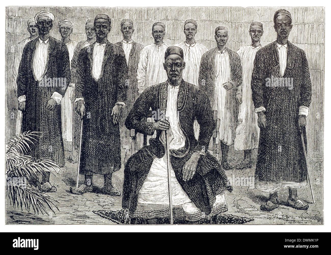 I Capi tribù L/R Sekeboro Chief di Chagwe, Pokino il Primo ministro, Mtesa l'imperatore di Uganda, Chambarango il capo. Immagini Stock