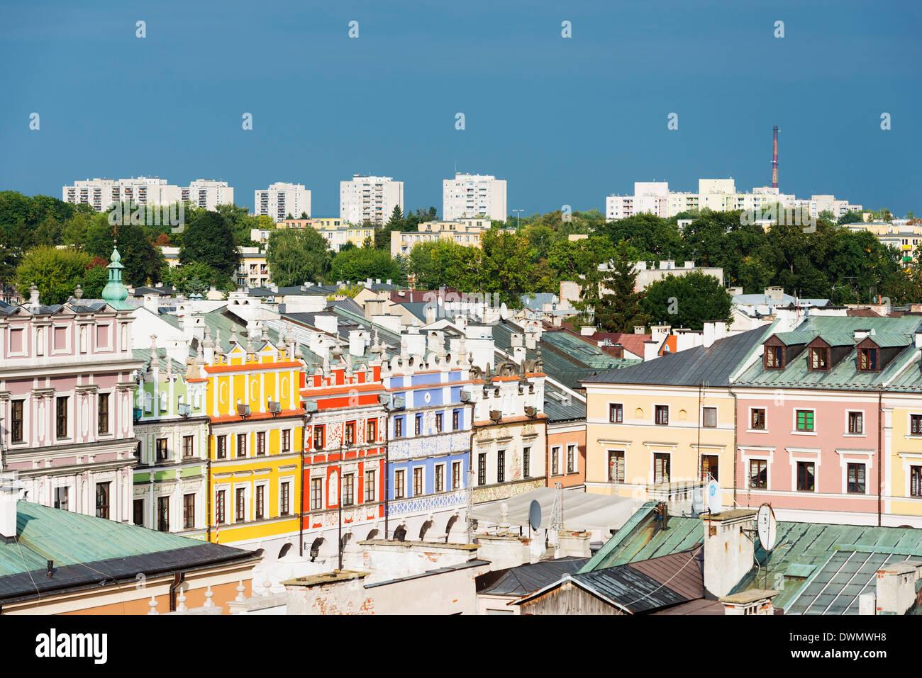 Rynek Wielki, la Piazza della Città Vecchia, il Sito Patrimonio Mondiale dell'UNESCO, Zamosc, Polonia, Immagini Stock