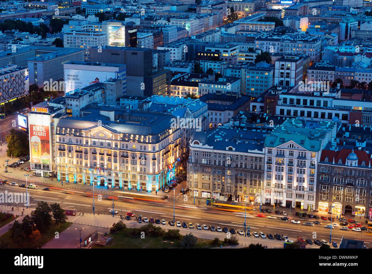 Città vista dal palazzo della cultura e della scienza, Varsavia, Polonia, Europa Immagini Stock