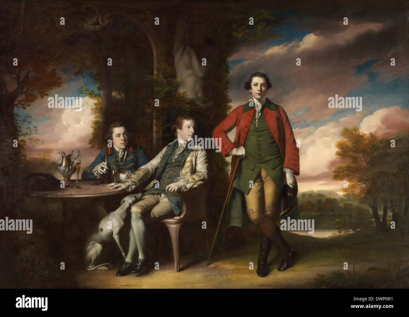 Joshua Reynolds - La onorevole Henry Fane con Inigo Jones e Charles Blair Immagini Stock