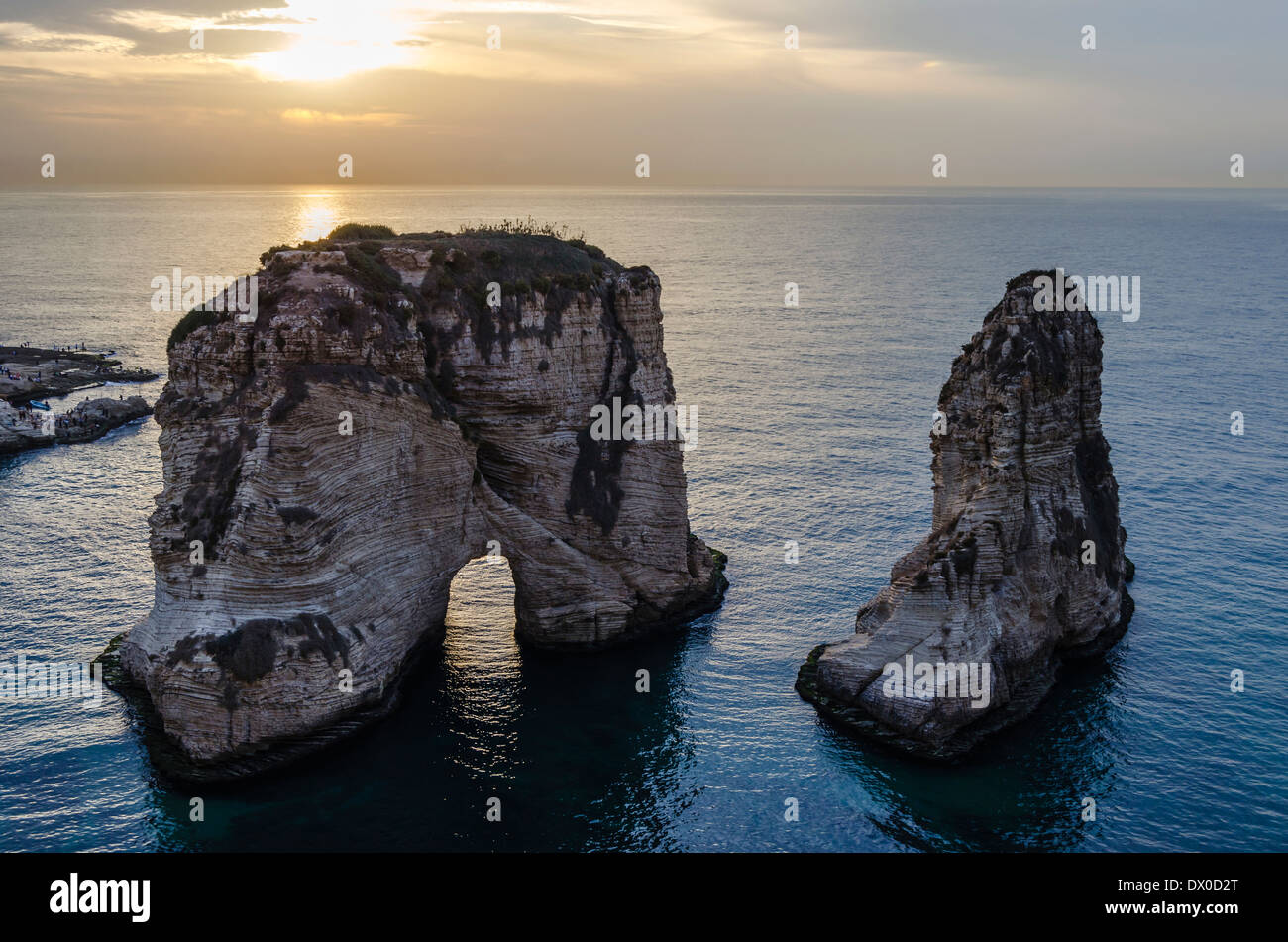 Pigeon Rock a Beirut, Libano Immagini Stock