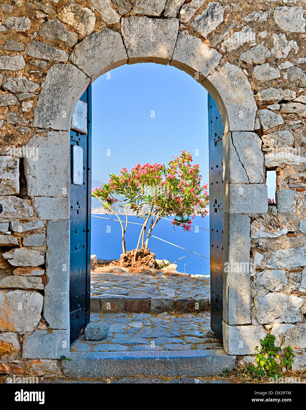 Cancello in fortezza Palamidi, Nafplio, Grecia Foto Stock