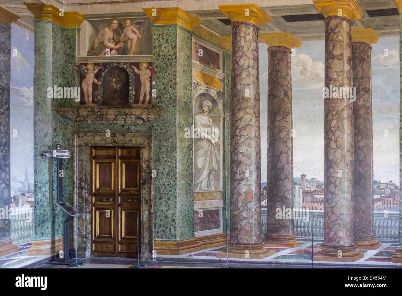 """Prospettive"""" hall, Villa Farnesina, Roma, lazio, Italy Immagini Stock"""