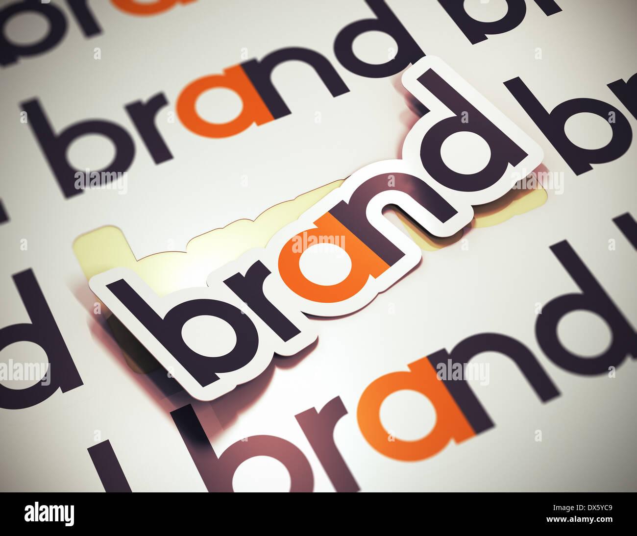 Etichetta con il marchio di parola su un sfondo beige. nome di marca concetto. l'immagine è un rendering 3D con effetto di sfocatura Immagini Stock