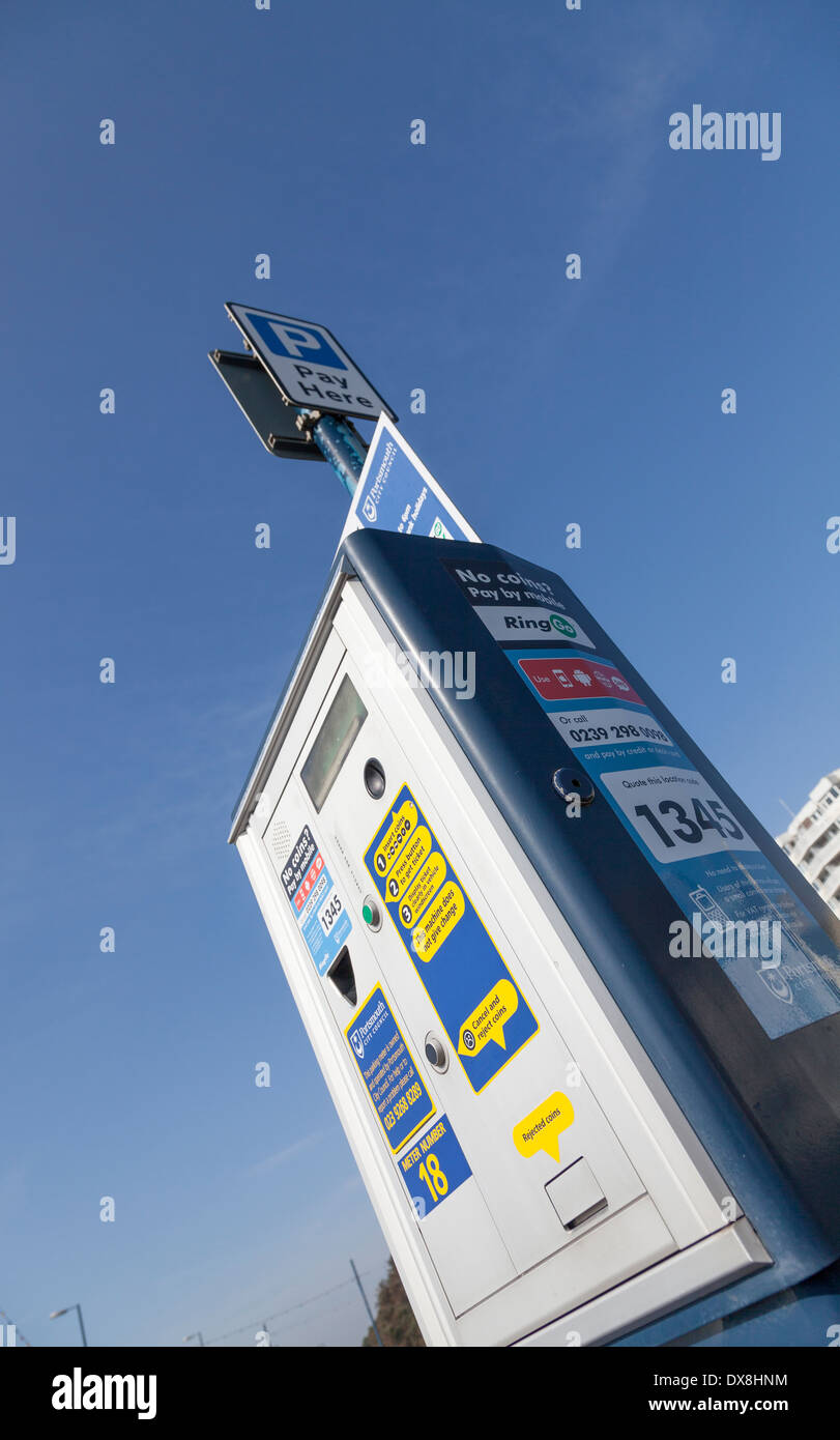 Parcheggio metro con 'pay by mobile'. Immagini Stock
